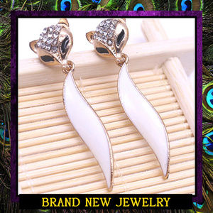 White Fox Dangle Earrings #466